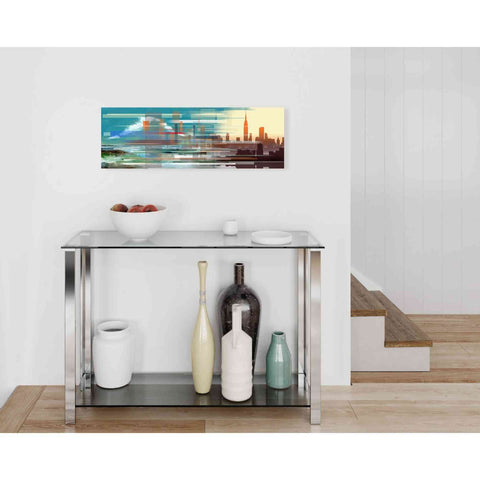 'Buildings and Seascape II' by Stuart Roy, Canvas Wall Art,36 x 12