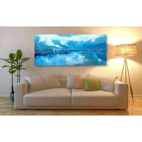 'Blue Sky and Boats V' by Stuart Roy, Canvas Wall Art,60 x 30