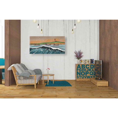 Image of 'Boats and Birds' by Stuart Roy, Canvas Wall Art,40 x 20