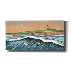 'Boats and Birds' by Stuart Roy, Canvas Wall Art,Size 2 Landscape