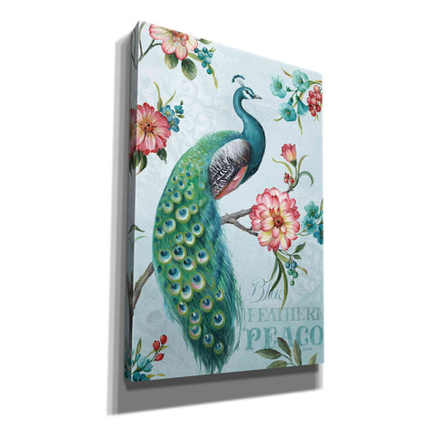'Blue Feathered Peacock I' by Lisa Audit, Canvas Wall Art