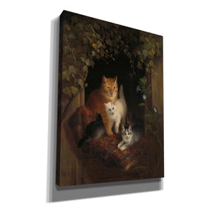 'Cat with Kittens' by Henriette Ronner-Knip, Canvas Wall Art,Size B Portrait