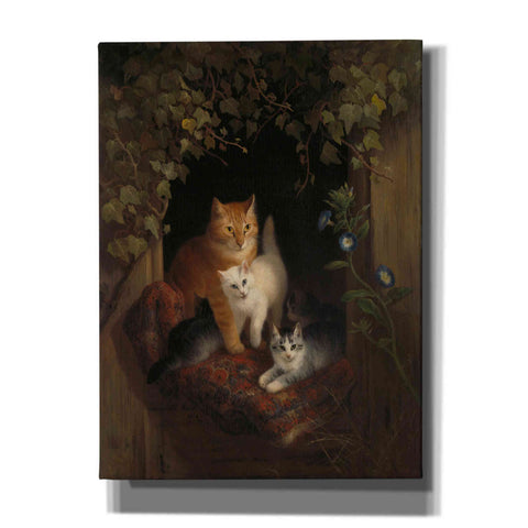 Image of 'Cat with Kittens' by Henriette Ronner-Knip, Canvas Wall Art,Size B Portrait