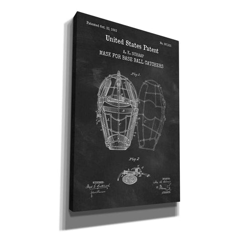 'Baseball Catchers Mask Blueprint Patent Chalkboard,' Canvas Wall Art