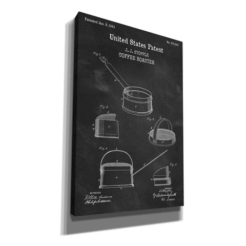 'Coffee Roaster Blueprint Patent Chalkboard,' Canvas Wall Art