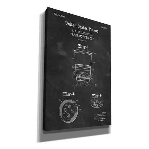 'Paper Coffee Cup Blueprint Patent Chalkboard,' Canvas Wall Art
