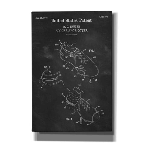 'Soccer Shoe Cover Blueprint Patent Chalkboard,' Canvas Wall Art