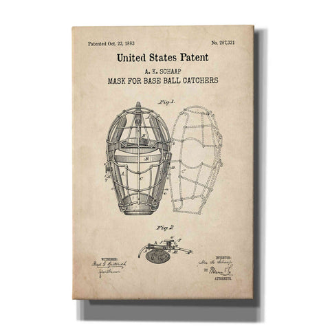 'Baseball Catchers Mask Blueprint Patent Parchment,' Canvas Wall Art