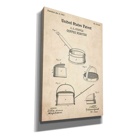 'Coffee Roaster Blueprint Patent Parchment,' Canvas Wall Art