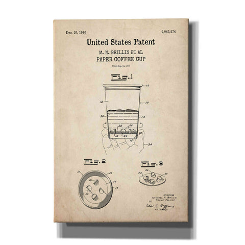 Image of 'Paper Coffee cup Blueprint Patent Parchment,' Canvas Wall Art