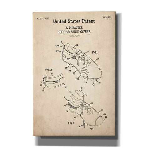 Image of 'Soccer Shoe Cover Blueprint Patent Parchment,' Canvas Wall Art