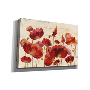 'Red Flowers on Marble' by Silvia Vassileva, Canvas Wall Art