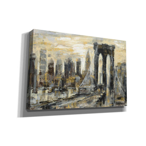 'Brooklyn Bridge Gray and Gold' by Silvia Vassileva, Canvas Wall Art