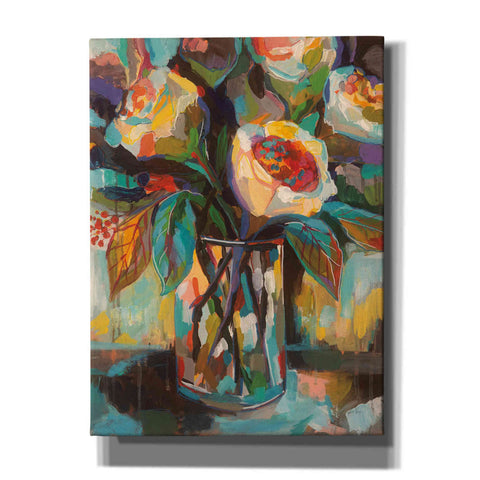 Image of 'Stained Glass Floral' by Jeanette Vertentes, Canvas Wall Art