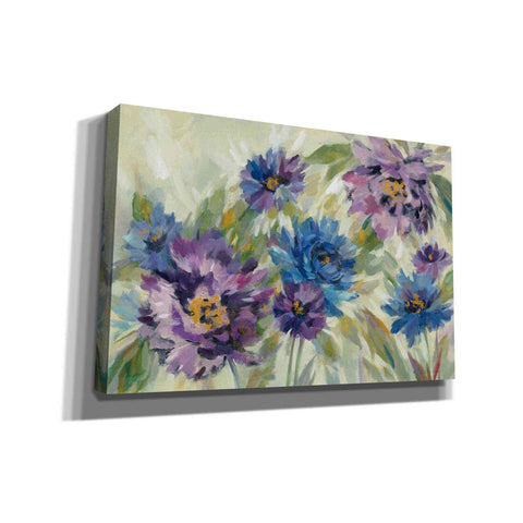 'Bold Blue and Lavender Flowers' by Silvia Vassileva, Canvas Wall Art
