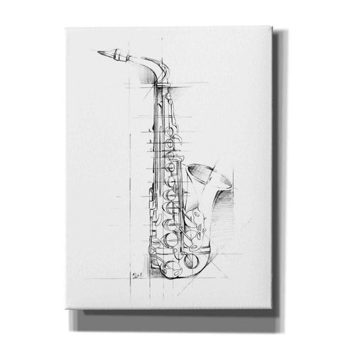 """Saxophone Sketch"" by Ethan Harper, Canvas Wall Art"