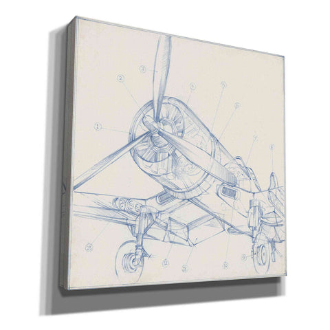 """Airplane Mechanical Sketch II"" by Ethan Harper, Canvas Wall Art"