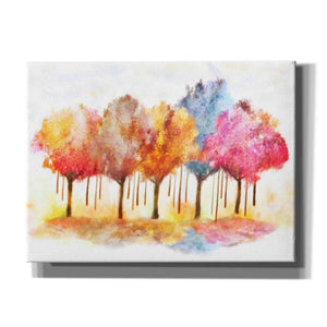 """Row Of Painted Trees"" by Hal Halli, Canvas Wall Art"