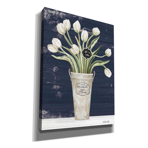 Image of 'Tulips on Navy II' by Cindy Jacobs, Canvas Wall Art