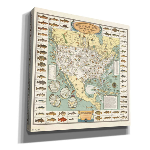 'Big Game Fish Map' by Stellar Design Studio, Canvas Wall Art