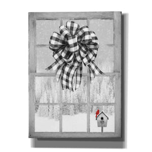 'Christmas Birdhouse with Bow' by Lori Deiter, Canvas Wall Art