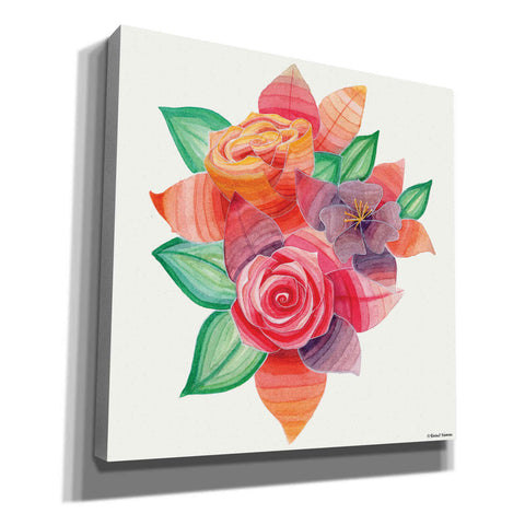 Image of 'Stiped Vibrant Florals' by Rachel Nieman, Canvas Wall Art