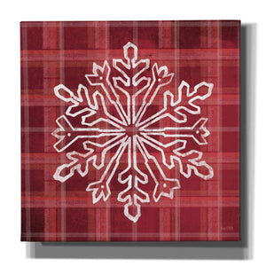 'Red Plaid Snowflakes' by House Fenway, Canvas Wall Art