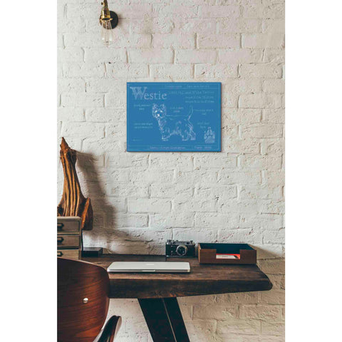 Image of 'Blueprint Westie' by Ethan Harper Canvas Wall Art,16 x 12