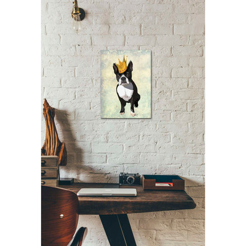 'Boston Terrier and Crown' by Fab Funky, Canvas Wall Art,12 x 16