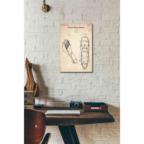 Image of 'Ballet Slippers Blueprint Patent Parchment' Canvas Wall Art,12 x 18