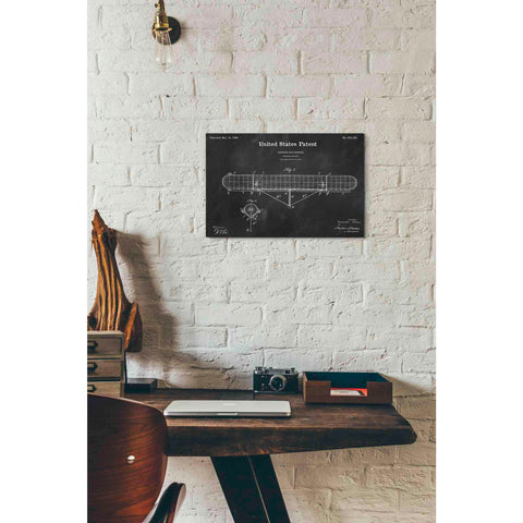 Image of 'Navigable Balloon Blueprint Patent Chalkboard' Giclee Canvas Wall Art
