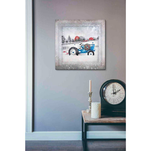 Image of 'Christmas Tractor' by Bluebird Barn, Canvas Wall Art,18 x 18