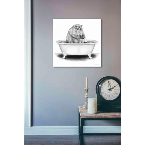 'Hippo in Tub' by Rachel Nieman, Giclee Canvas Wall Art