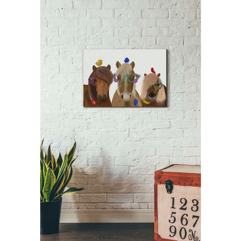 'Horse Trio with Flower Glasses' by Fab Funky, Giclee Canvas Wall Art