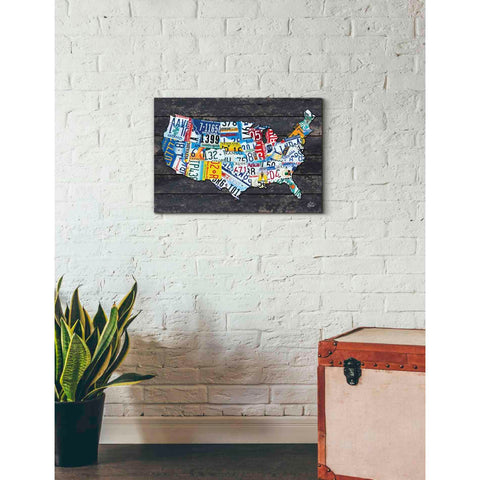 'USA License Plate Map' by Britt Hallowell, Canvas Wall Art,26 x 18