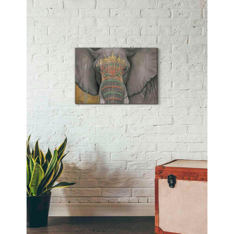 Image of 'Tattooed Elephant' by Britt Hallowell, Canvas Wall Art,26 x 18