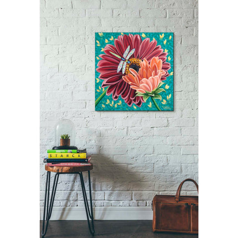 Image of 'Dragonfly on Blooms II' by Carolee Vitaletti, Giclee Canvas Wall Art