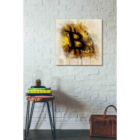 'Bitcoin Era in Gold' by Surma and Guillen, Canvas Wall Art,26 x 26