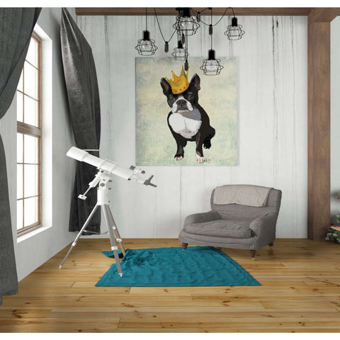 'Boston Terrier and Crown' by Fab Funky, Canvas Wall Art,26 x 30