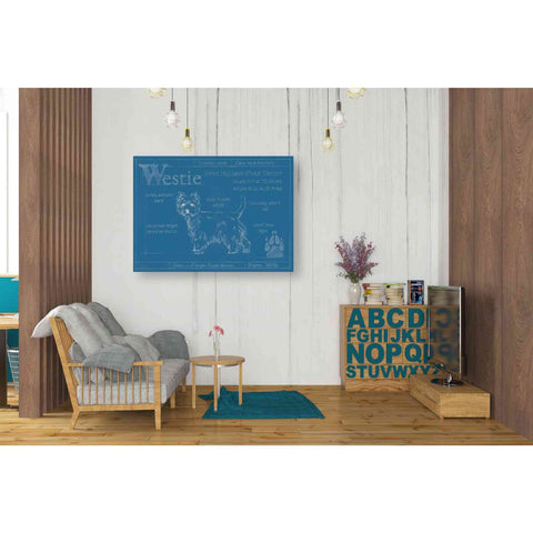 Image of 'Blueprint Westie' by Ethan Harper Canvas Wall Art,34 x 26