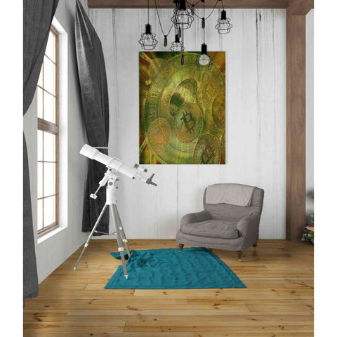 Image of 'Grunge Bitcoin' by Steve Hunziker, Giclee Canvas Wall Art