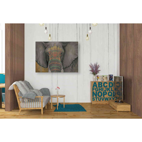 Image of 'Tattooed Elephant' by Britt Hallowell, Canvas Wall Art,34 x 26