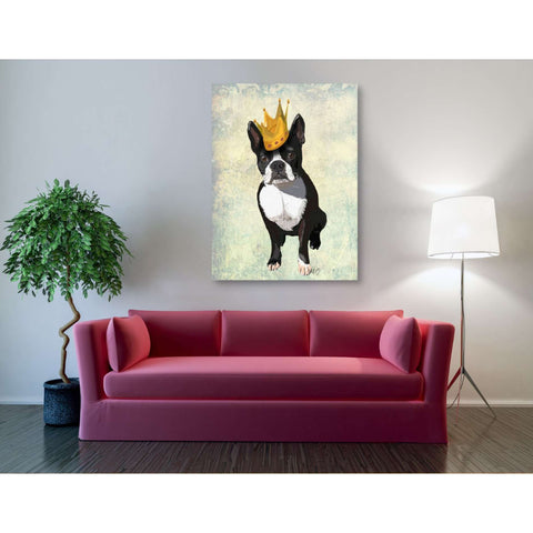 'Boston Terrier and Crown' by Fab Funky, Canvas Wall Art,40 x 54