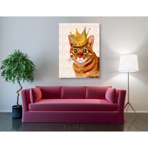'Ginger Cat with Crown Portrait' by Fab Funky, Giclee Canvas Wall Art