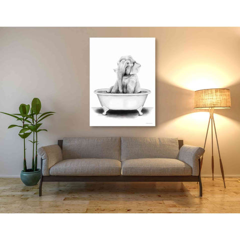 'Elephant in Tub' by Rachel Nieman, Giclee Canvas Wall Art