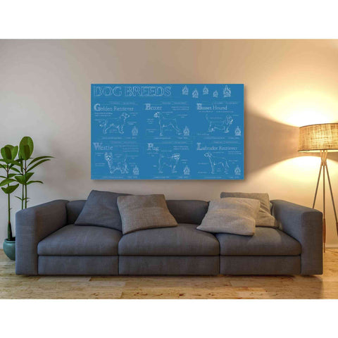 'Dog Breeds Infograph' by Ethan Harper Canvas Wall Art,60 x 40