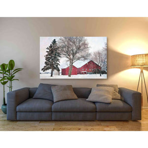 'Snowy Barn' by Bluebird Barn, Canvas Wall Art,60 x 40