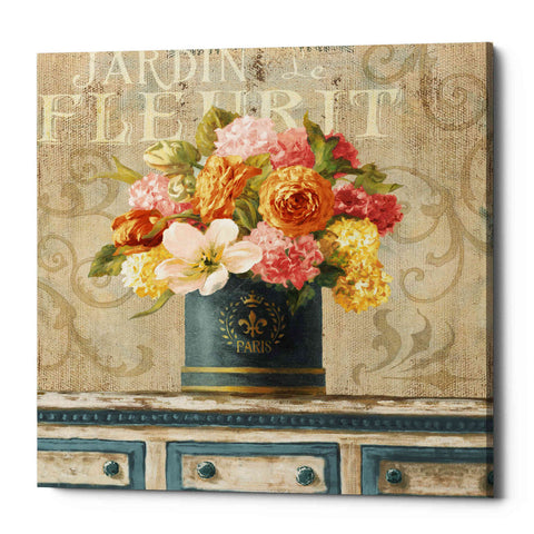 """Tulips in Teal and Gold Hatbox"" by Danhui Nai, Giclee Canvas Wall Art"