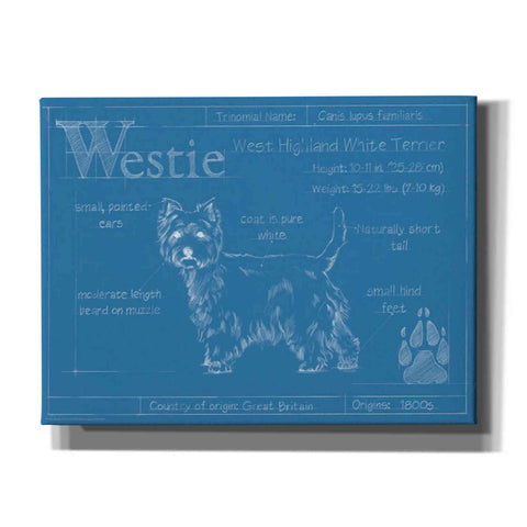 Image of 'Blueprint Westie' by Ethan Harper Canvas Wall Art,Size B Landscape