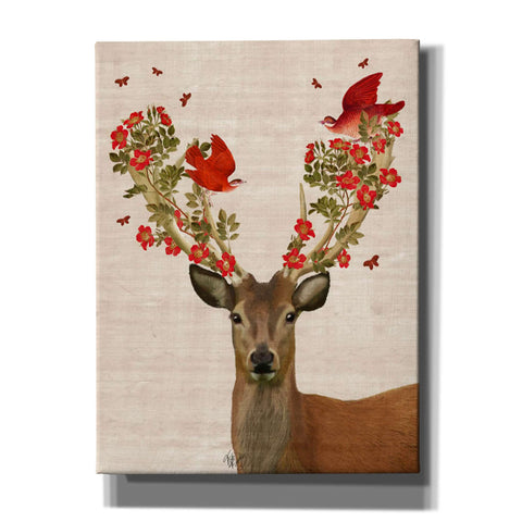 'Deer and Love Birds' by Fab Funky, Canvas Wall Art